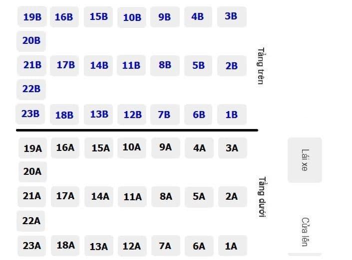 Vị trí số ghế xe giường nằm Phương Trang